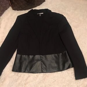 DKNYC Black Faux Leather Blazer Size Large